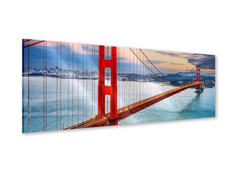 Panoramic Acrylic Print The Golden Gate Bridge At Sunset
