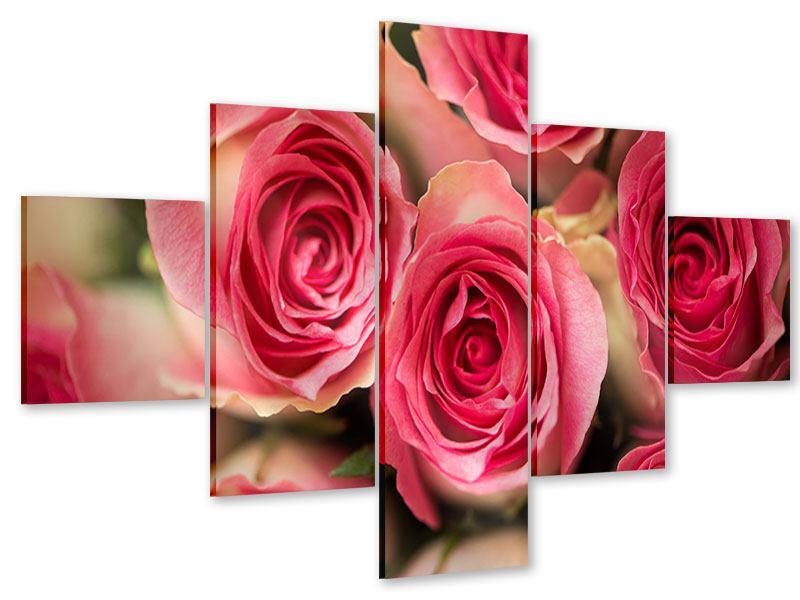 5 Piece Acrylic Print Rose Love