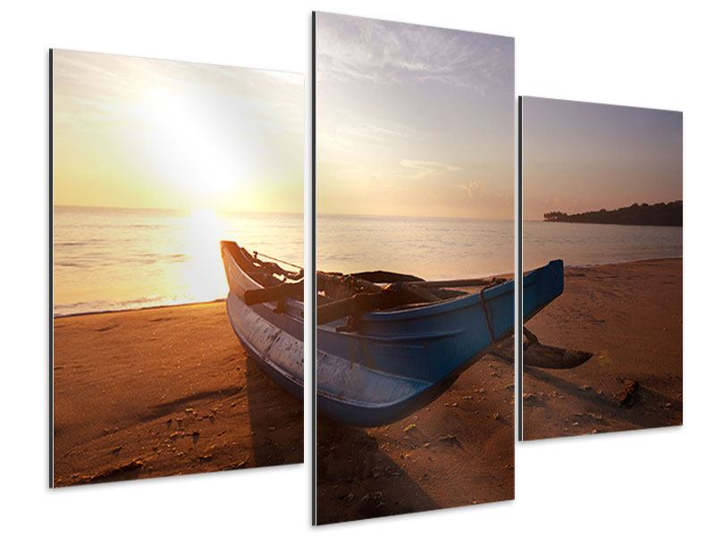 Modern 3 Piece Aluminium Print The Stranded Boat