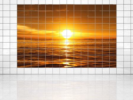 Tile Print Glowing Sunset On The Water
