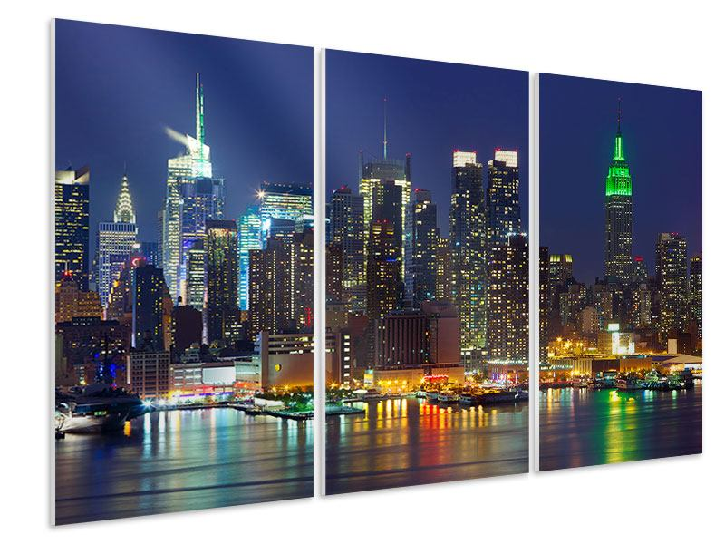 3 Piece Forex Print Skyline New York Midtown At Night
