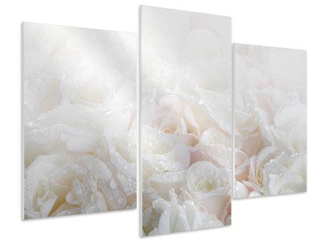 Modern 3 Piece Forex Print White Roses In The Morning Dew