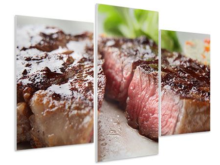 Modern 3 Piece Forex Print Perfect Beef Filet