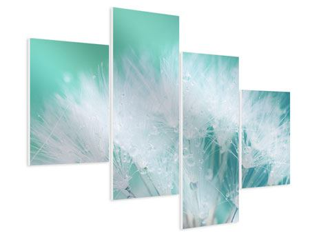 Modern 4 Piece Forex Print Close Up Dandelion In Morning Dew