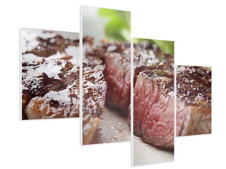 Modern 4 Piece Forex Print Perfect Beef Filet