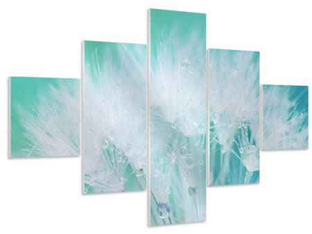 5 Piece Forex Print Close Up Dandelion In Morning Dew