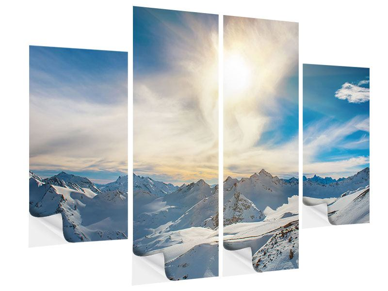4 Piece Self-Adhesive Poster Over The Snowy Peaks