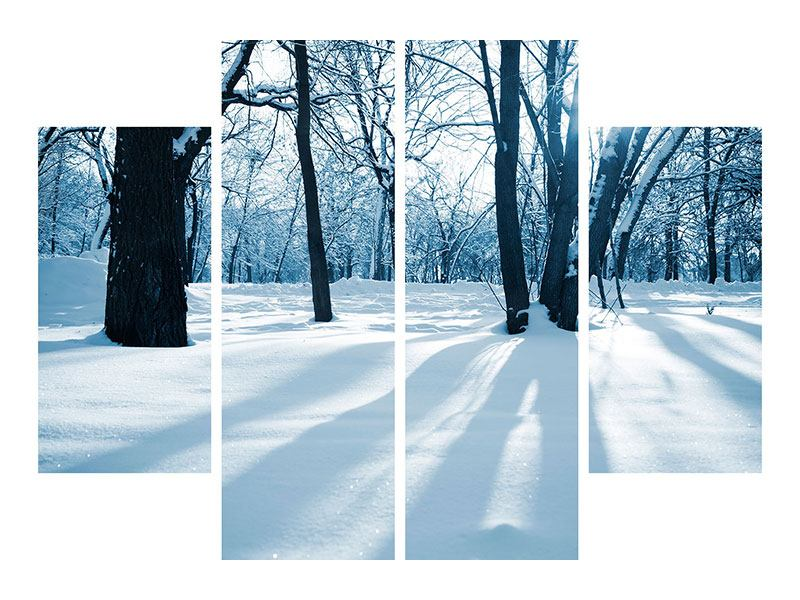 4 Piece Self-Adhesive Poster The Forest Without Tracks In The Snow