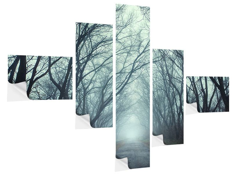 Modern 5 Piece Self-Adhesive Poster Cloud Forest