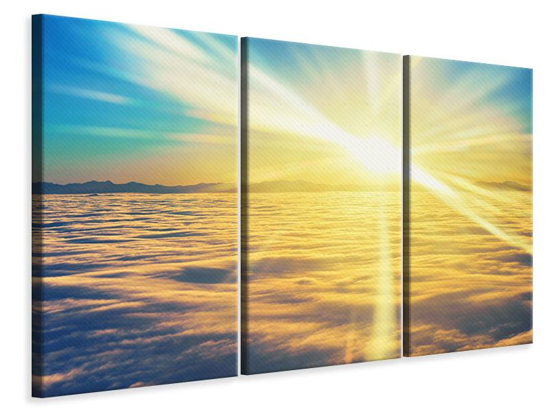 3 Piece Canvas Print Sunset Above The Clouds