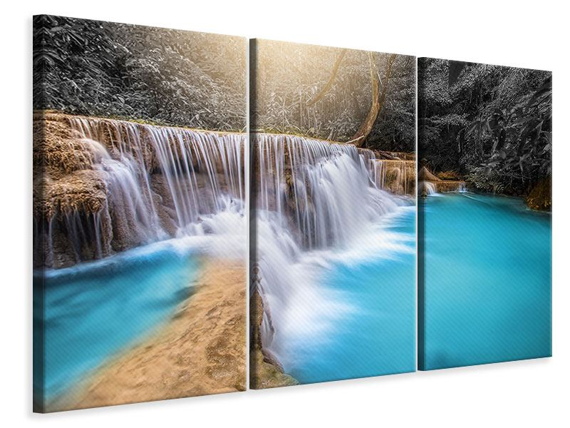 3 Piece Canvas Print Happy Waterfall