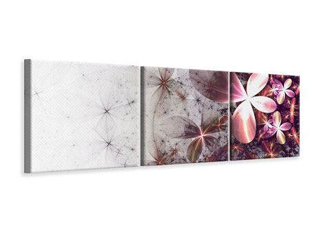 Panoramic 3 Piece Canvas Print Abstract Floral