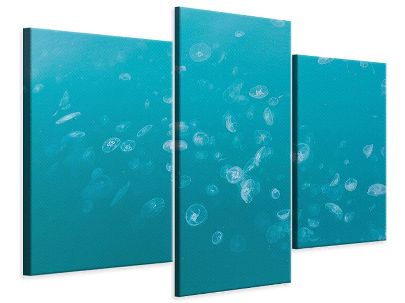 Modern 3 Piece Canvas Print Lots Of Jellyfish
