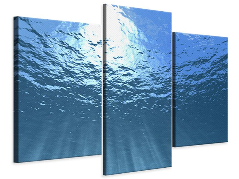 Modern 3 Piece Canvas Print Sunbeams Underwater