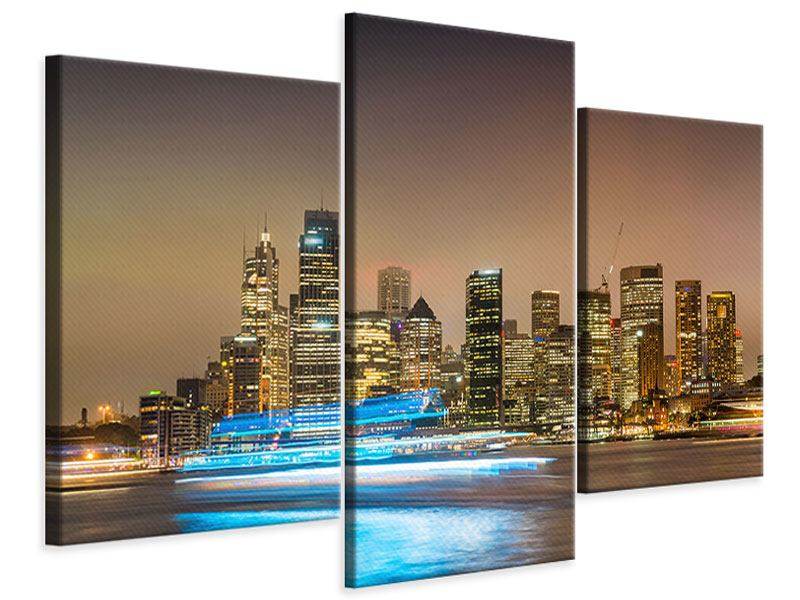 Modern 3 Piece Canvas Print Skyline Sydney At A Sea Of Lights