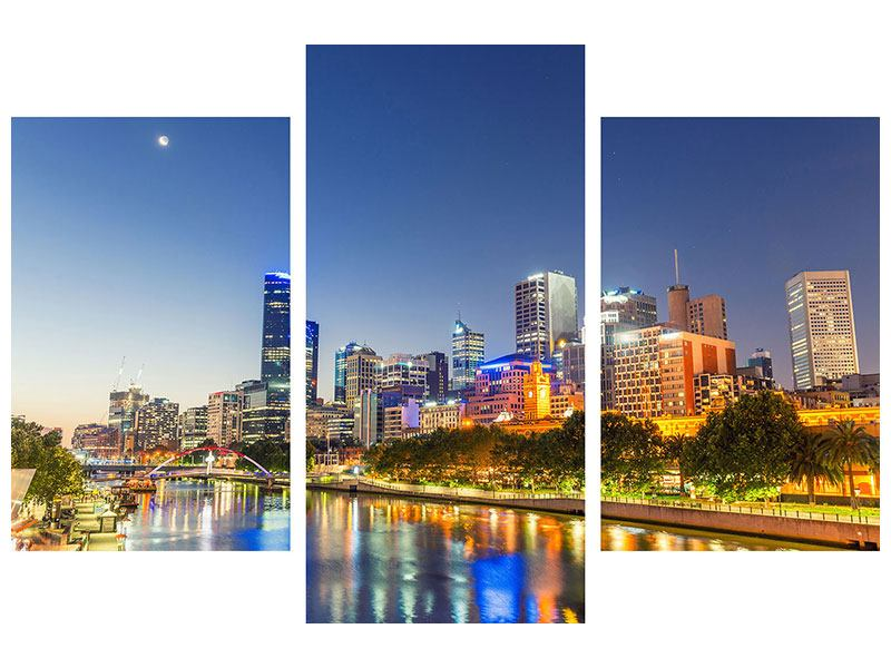 Modern 3 Piece Canvas Print Skyline Sydney At Dusk