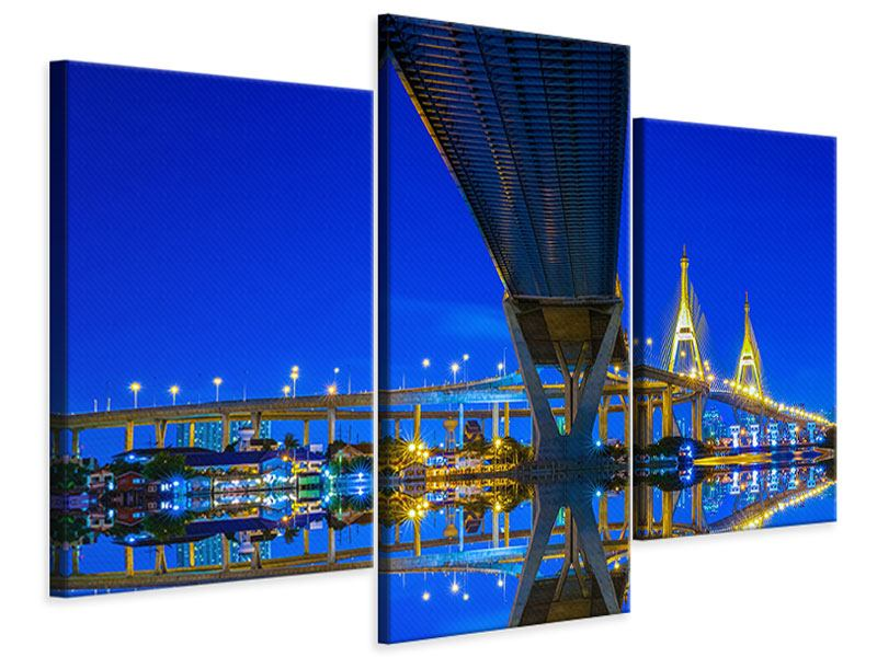 Modern 3 Piece Canvas Print Bhumiboll Bridge