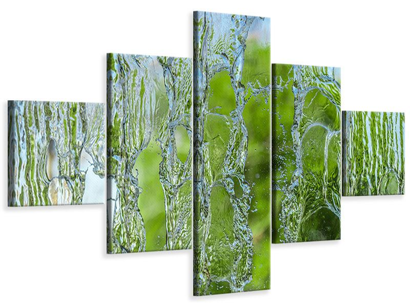 5 Piece Canvas Print Behind The Waterfall