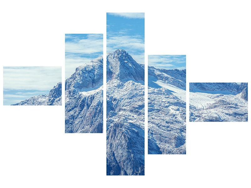Modern 5 Piece Canvas Print Peaceful Mountain Atmosphere