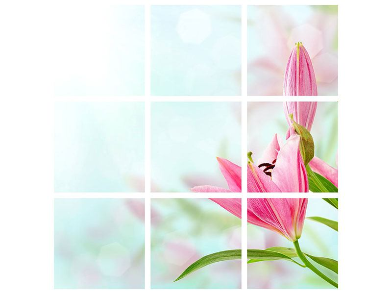 9 Piece Canvas Print Romantic Lilies