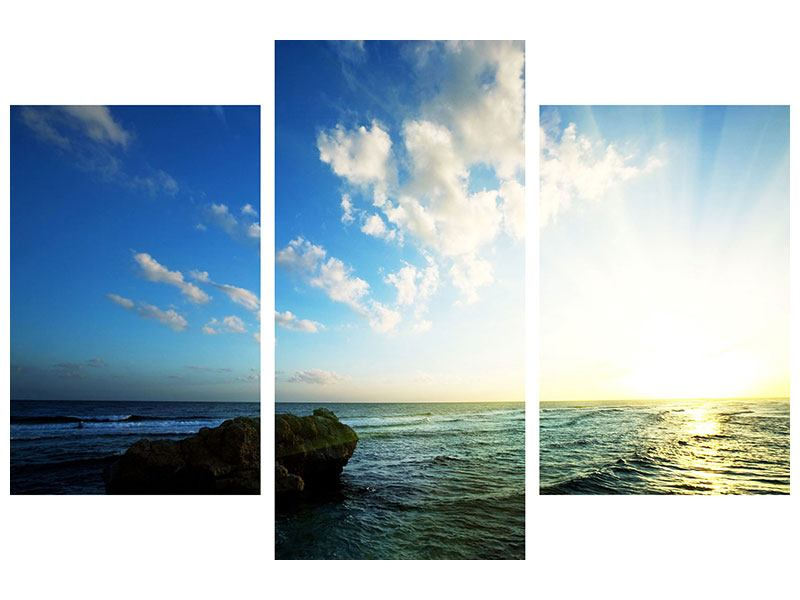 Modern 3 Piece Metallic Print The Ocean