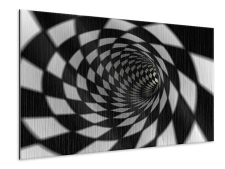 Metallic Print Abstract Tunnel Black & White