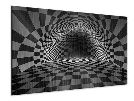 Metallic Print Abstract Chessboard