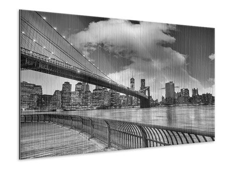 Metallic Print Skyline Black And White Photography Brooklyn Bridge NY