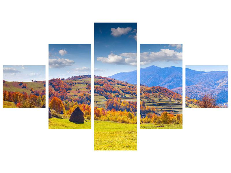 5 Piece Metallic Print Autumnal Mountain Landscape