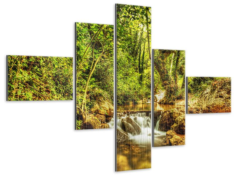 Modern 5 Piece Metallic Print Waterfall In The Forest