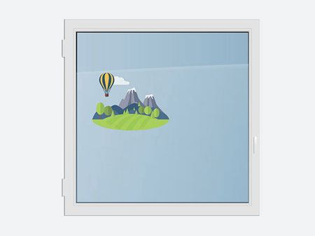 Window Sticker Balloon in the mountains