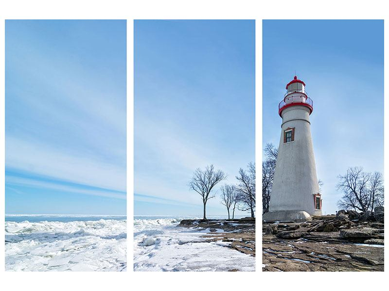 3 Piece Poster Lighthouse In Snow