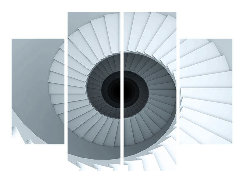 4 Piece Poster 3D Spiral Staircase