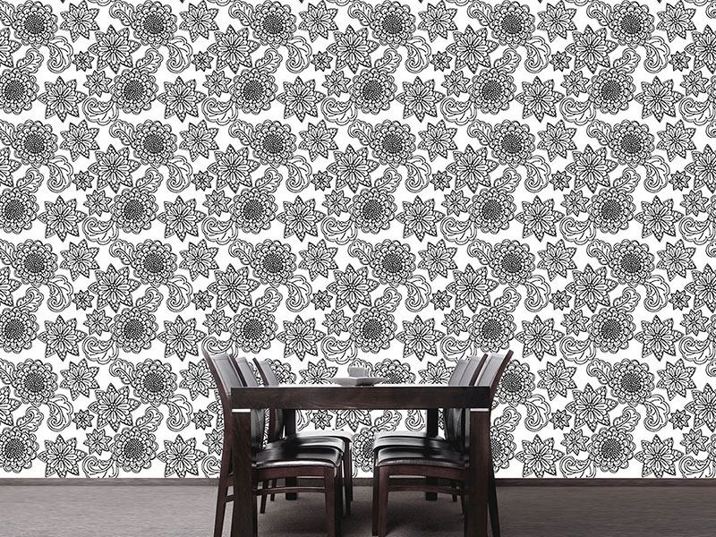 Design Wallpaper Flowers With Contours