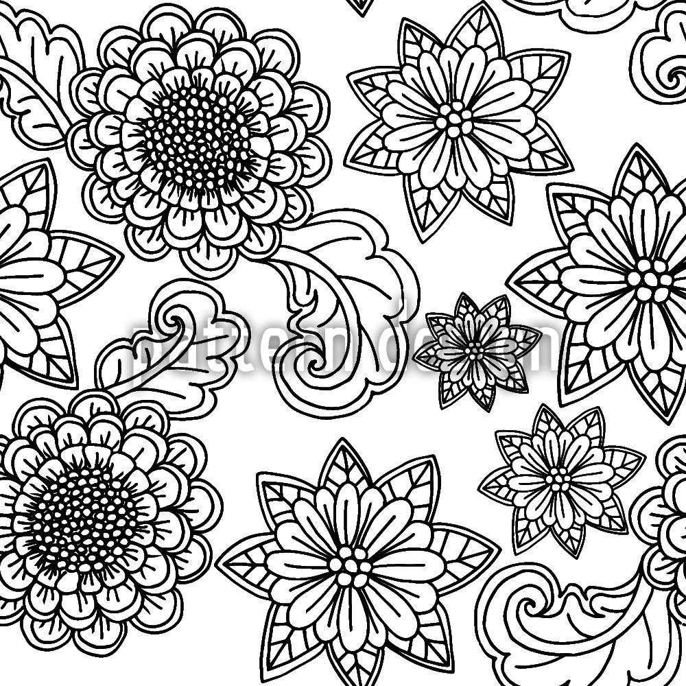 Papel tapiz de diseño Flowers With Contours