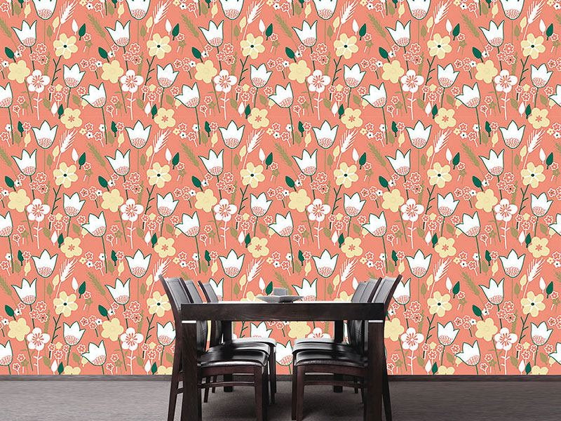 Papel tapiz de diseño Meadow In Apricot