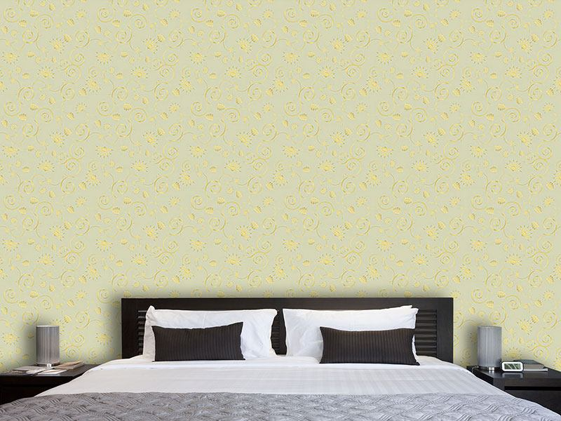 Design Wallpaper Gold Flora