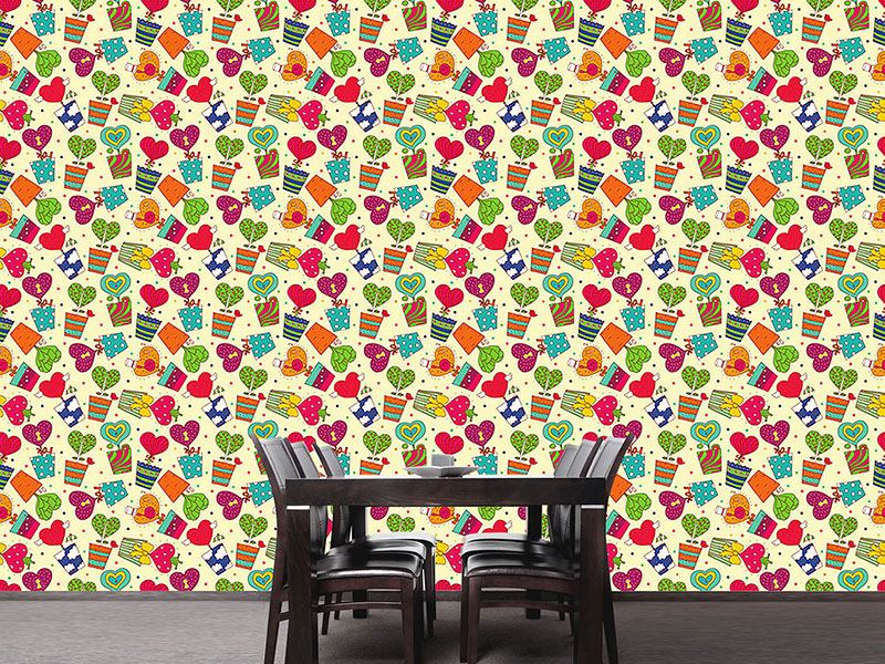 Design Wallpaper Potted Plants With Hearts